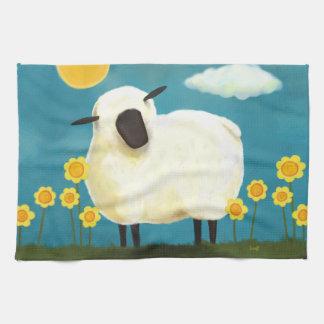 Toalla de té mullida de las ovejas y de las flores