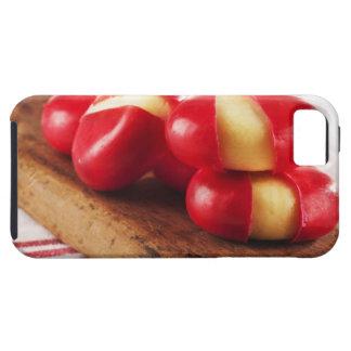 Toalla de té rayada roja en fondo iPhone 5 Case-Mate fundas