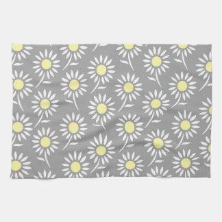 Toalla floral gris amarilla del paño de la cocina