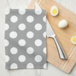 Toalla gris y blanca de Paloma del lunar de cocina
