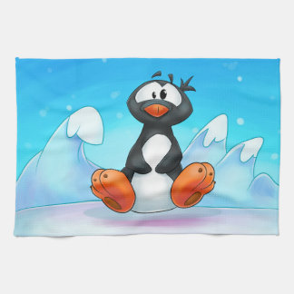 toalla linda del pingüino del dibujo animado