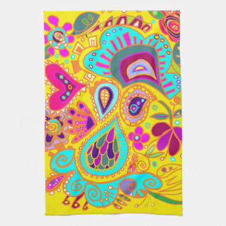 Toalla loca de Paisley en Amarillo-turquesa-rosado