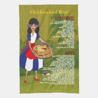 Toalla-Pollo y arroz cubanos de la cocina de la re