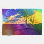 Toalla rural del paisaje del arco iris