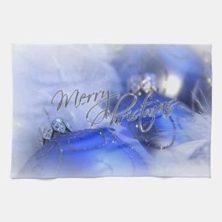 Toallas azules de las Felices Navidad de los