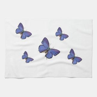 toallas de cocina azules de la mariposa