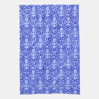Toallas de cocina azules florales del vintage retr