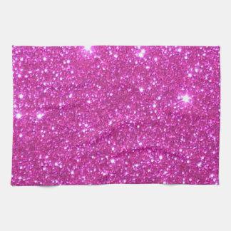 Toallas de cocina brillantes rosadas del brillo de
