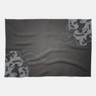 Toallas de cocina de plata elegantes del negro de