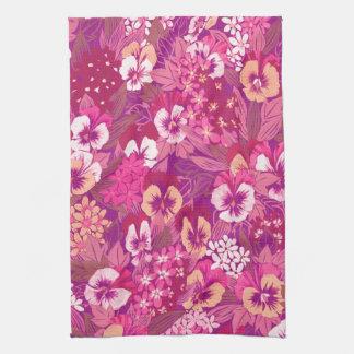 Toallas de cocina rosadas florales del pensamiento