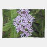 Toallas de cocina tropicales florales púrpuras y v
