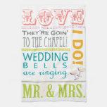 Toallas de plato coloridas del boda de la tipograf
