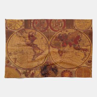 Toallas de té del mapa de Viejo Mundo