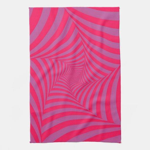 Toallas espirales rosadas y de la lila de cocina