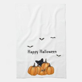 Toallas negras del gatito y de la araña de Hallowe