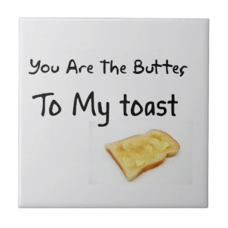 Toast Bread Love Words Ceramic Tile