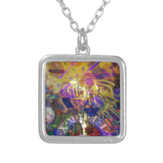 Toast in New Year celebration party. Silver Plated Necklace