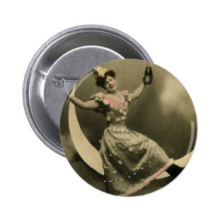 Toast of Champagne on a Crescent Moon Button