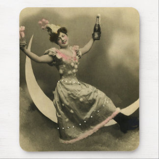 Toast of Champagne on a Crescent Moon Mouse Pad