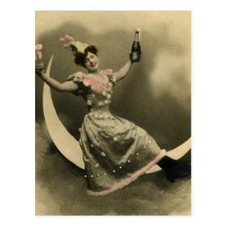 Toast of Champagne on a Crescent Moon Postcard