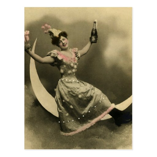 Toast of Champagne on a Crescent Moon Postcards