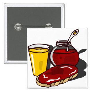 Toast, orange juice and jam buttons