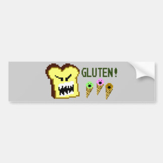 Toast, The Gluten Menace: 8-Bit Style Car Bumper Sticker