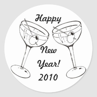 Toast the New Year Classic Round Sticker