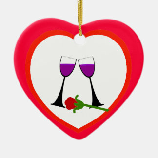 Toast to Love Red Heart Ornament