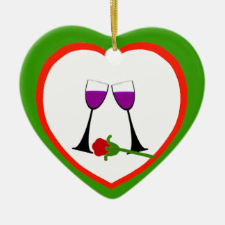 Toast to Love Red n Green Heart Ornament