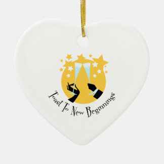 Toast To New Beginnings Double-Sided Heart Ceramic Christmas Ornament
