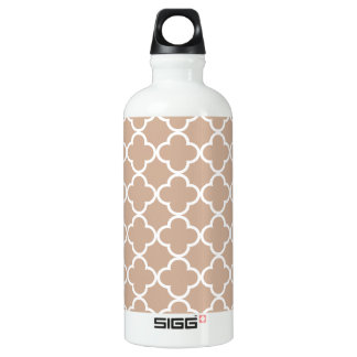 Toasted Almond and White Quatrefoil Moroccan Patte Aluminum Water Bottle