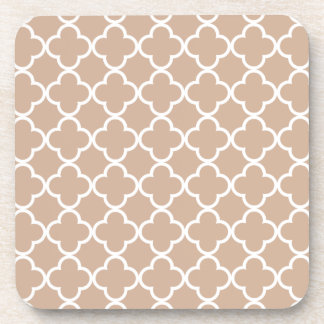 Toasted Almond and White Quatrefoil Moroccan Patte Beverage Coasters