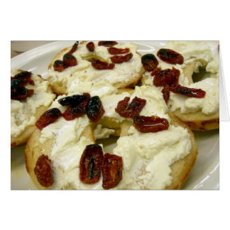 Toasted bagel with goat cheese card