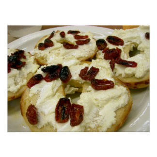 Toasted bagel with goat cheese poster