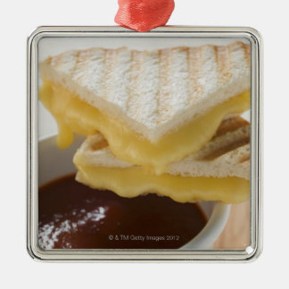Toasted cheese sandwiches & a cup of tomato soup metal ornament