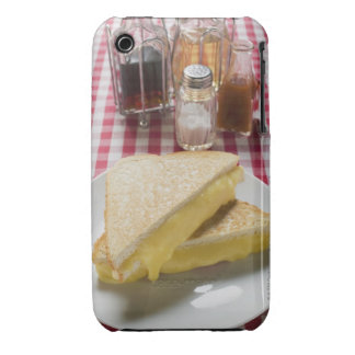 Toasted cheese sandwiches on plate, vinegar, iPhone 3 Case-Mate case