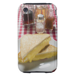 Toasted cheese sandwiches on plate, vinegar, iPhone 3 tough covers