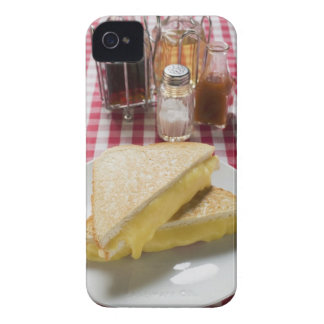 Toasted cheese sandwiches on plate, vinegar, iPhone 4 Case-Mate cases
