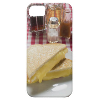 Toasted cheese sandwiches on plate, vinegar, iPhone SE/5/5s case
