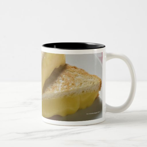 Toasted cheese sandwiches on plate, vinegar, mugs