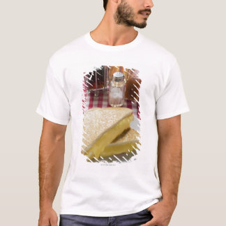 Toasted cheese sandwiches on plate, vinegar, T-Shirt