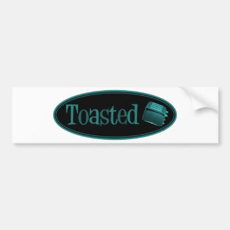 TOASTED Retro Toaster - Black & Turquoise Bumper Sticker