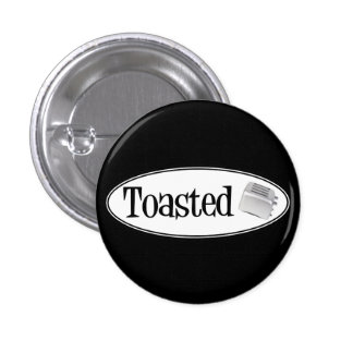 TOASTED Retro Toaster - Black & White Pinback Buttons