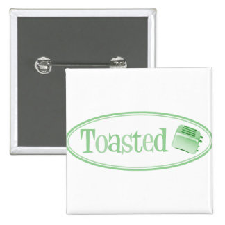 TOASTED Retro Toaster - Light Green Pinback Buttons