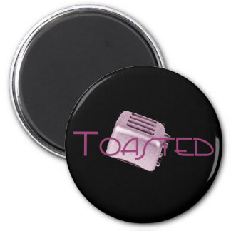 Toasted - Retro Toaster - Pink 2 Inch Round Magnet