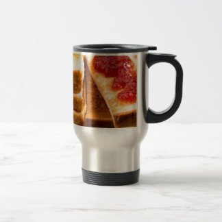 Toasted slices of bread with strawberry jam travel mug