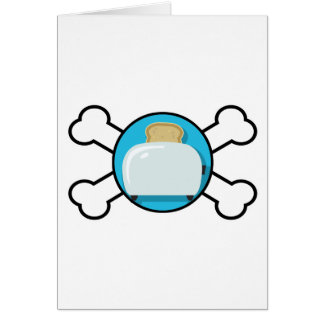 toaster toast and crossbones design greeting card