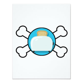 toaster toast and crossbones design 4.25x5.5 paper invitation card