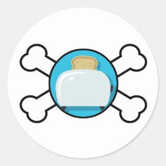 toaster toast and crossbones design round stickers